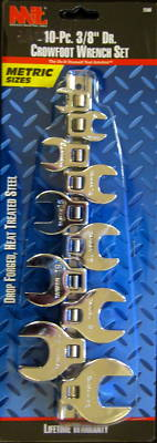 "New MIT 10-Pc. 3/8"" Dr. MM Crowfoot Wrench Set #2580"