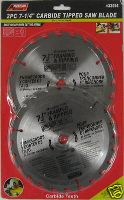 "New ATE 2pc 7-1/4"" 24T Carbide Tip Saw Blade 8000 RPM #33014"