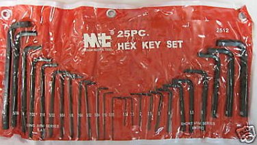 New MIT 25 PC. Long/Short Arm Hex Key Wrenchs SAE and MM